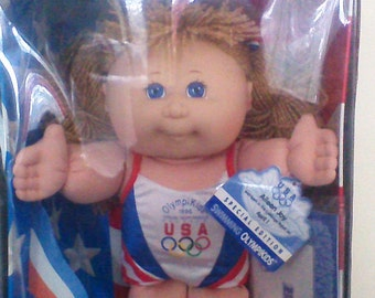Vintage Cabbage Patch Doll Girl 1996 Olympics Swimming Olympikids Birth Certificate Adoption Papers New in Box Aileen Joy