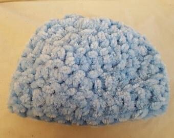 Light blue fluffy hat