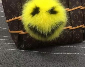 Yellow Fox Fur Bag Charm Luxury Fluffy Puffs Ball Keychains Women Genuine Purse Charm Handbag Charm Cute Soft Real Furry