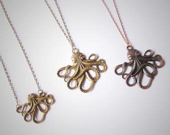 Octopus Necklace, Small & Large Bronze Copper Octopus Pendant, Antique Octopus Tentacles Charm, Sailor Kraken Nautical Antique Necklace