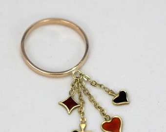 """Vintage """"Poker"""" charm ring 14k enamel heart,spade,club and diamond black and red size 5.25"""