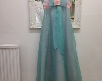 Pretty  mint green and baby pink vintage prom bridesmaid dress matching shawl boho bohemian floaty chiffon party Ball gown 1950s 1960s Small