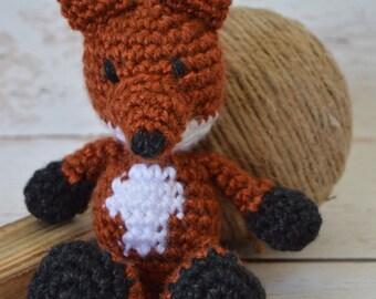 crochet fox, stuffed fox, crochet stuffed animal, crochet toy, baby toy, photography prop