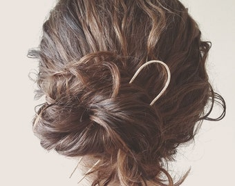 Hammered Brass Horseshoe Hair Pin, Hair Fork, Hair Stick