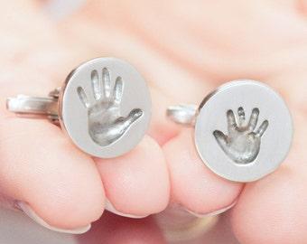 Personalisierte Manschettenknöpfe mit echten Handabdrücken - Männer Schmuck Vatertag Vater Baby Handabdruck Kinder Erinnerungsschmuck