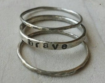 Stacking name rings, sterling silver, hammered, message ring, set of 3, stackable rings, name ring, customized rings, personalized rings