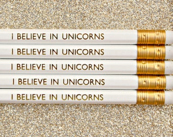 I Believe In Unicorns Pencil   White Luxury Gold Foil Stationery   Birthday   Party Favours   Back to School   Stocking Filler   HB Pencils