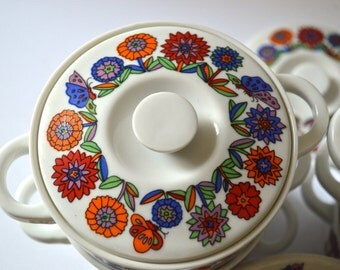 Vintage Colorful Ceramic Onion Soup Bowls Set of 8 Flower and Butterflies Japan