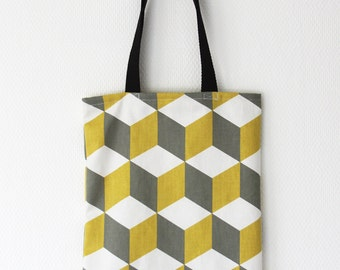 Tote bag thick fabric - shopping bag - Model CUBE JAUNE