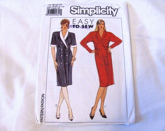 Vintage 1989 Size 8, 10, 12 and 14 Double Breasted Dress Sewing Pattern, Made by Simplicity