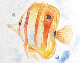 Butterfly fish - 6x8 original watercolor painting - nature art, sea life, aquarium, beach, impressionist, colorful