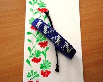 Custom name bracelet. woven name friendship bracelet. personalized. 34 colors. 1-8 symbols