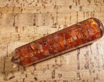 ORGONE CARNELIAN Faceted Gemstone Massage Wand Stone Crystal Wand