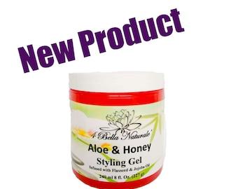 Aloe & Honey Styling Gel 8oz jar Handcrafted, Natural, Curl Definer, Edge Control, Organic Gel, Aloe Vera, Flaxseed, Hair Gel