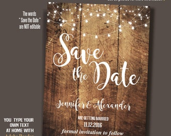 Save the Date, printable save the date, rustic save the date, Instant Download, self editable PDF A191