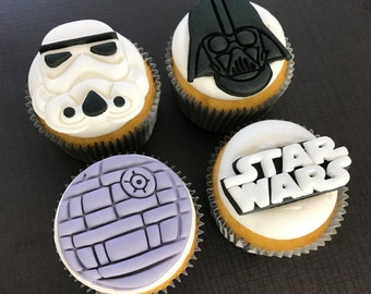 12 Star Wars Dark Side Inspired Cupcake Toppers-Fondant
