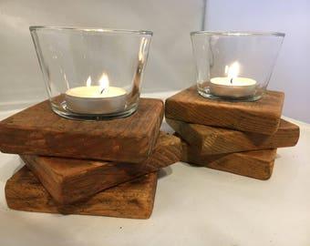 Candle Holder - Tea Light Holder - Rustic Tea Light Holder - Reclaimed Wood Tea Light Holder - Handmade Tea Light Holder - Rustic Decor