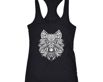 Wolf Racerback Tank Top T-Shirt. Funny Wolf Tank.