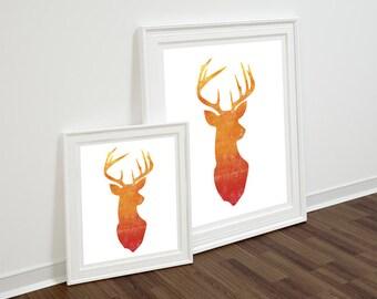 Stag Head Print, Deer Head print, Instant Download, Printable Wall Art, Deer Antlers, Sunset Deer Print, Wall Decor, Stag Art