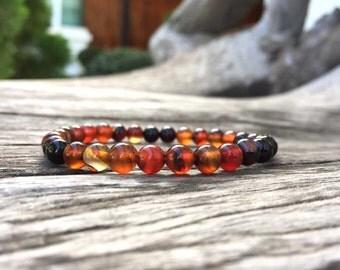 6 mm Agate stone bracelet, Stone bracelets, Beaded bracelets, Beadwork bracelets, Stretch Bracelet, Gemstone Bracelet, Agate