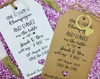 Rustic Save The Date Wedding Invitation, Dance On The Table, Personalised