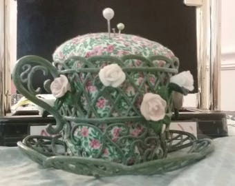 Stunning Vintage Hand Made Tea Cup Pin Cushion