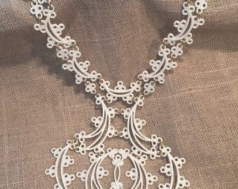 Vintage Monet White enamel necklace - 1960's Monet white lace bib necklace- statement necklace