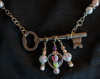 Antique Skeleton Key pearl and glass beads necklace