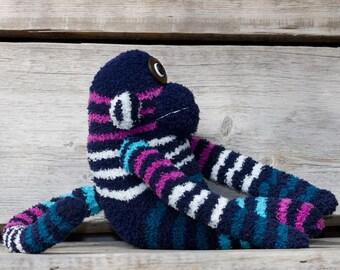 Handmade plush monkey, sock monkey with button eyes (blue, striped)