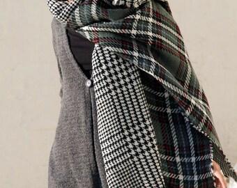 Scoop scarf, double sided scarf, big scarf, women's scarf, men's scarf, stylish scarf, beautiful scarf, wool scarf, wide scarf, long scarf