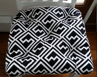 Tufted chair cushion, bench cushion, black and white shakes geometric cotton,