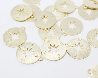 P0495/anti-Tarnished Gold Plating Over Brass/Compass pendant/12mm/2pcs