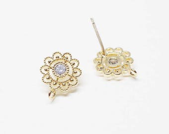 E0138/Anti-Tarnished Gold Plating Over Brass+Cubic Zirconia/Cubic Circle Flower Stud Earrings/10mm/2pcs