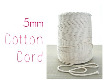 Macrame Cord // Cotton Twine // 5mm Natural Cotton Rope // Cotton String // 1100 feet