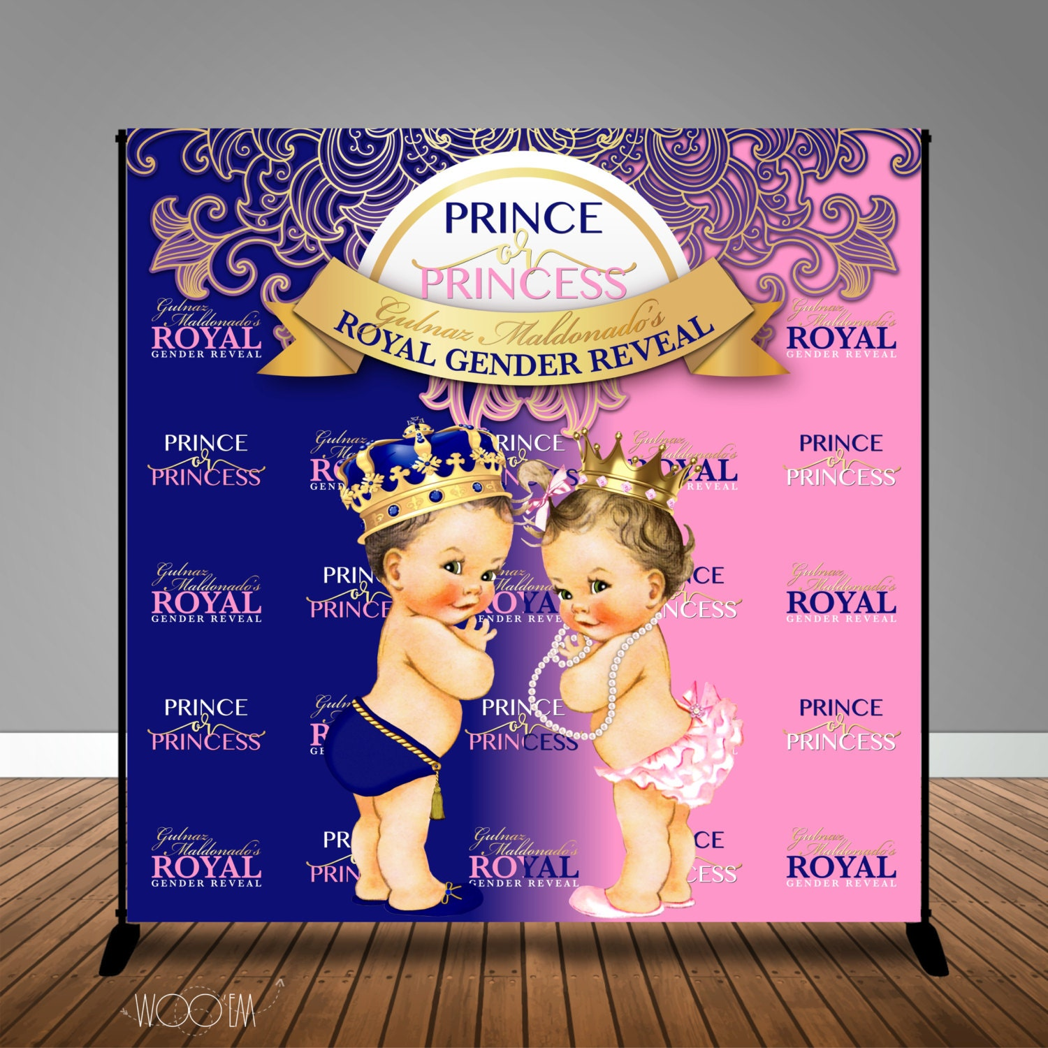 Royal Baby Shower Gender Reveal 8x8 Backdrop / Step & Repeat