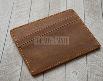 FREE SHIPPING - Genuine Distressed Leather Slim Credit Card Wallet - Rustic Brown