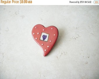 ON SALE Vintage Glazed Love Heart Ceramic Pin 41517