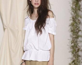"SALE Organic Cotton off Shoulders Embroidery ""Gitana"" Bohemian Top"