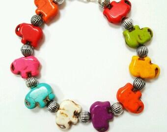 Elephant bracelet, turquoise elephant bracelet, Colorful elephant bracelet, elephant jewelry, turquoise jewelry, animal jewelry