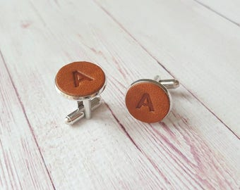 Personalized Initial Leather Cufflinks. Custom Gift for Him. Groomsmen Cuff Links. Anniversary Gift. Father's Day Gift. Valentines Gift.