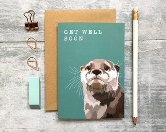 Otter Get Well Soon Card - Otter Card - Animal Card - Get Well Soon Card - Thinking of You Card - Woodland Animal - Otter
