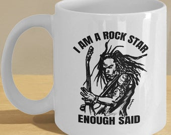 Rock star party mug, rockstar / rocker cup for rock n roll music lovers and fans! Guitarist black and white art decor!