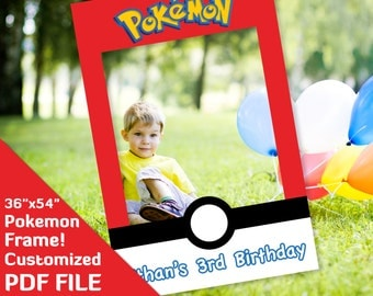 "Pokemon photo booth frame, Pokemon go birthday party favor, ash ketchum, misty, 36""x54"" printable Custom PDF file go decor decorations"