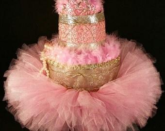2 Tier Pink & Gold DIAPER CAKE w/ tiara | tutu | pearls | centerpiece | baby | shower | birthday | celebration | girl | bff | pretty | style
