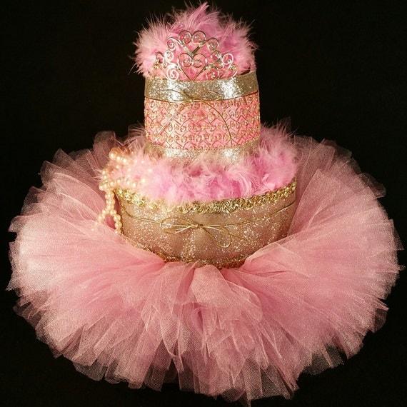 2 Tier Pink U0026 Gold DIAPER CAKE W/ Tiara | Tutu | Pearls | Centerpiece | Baby  | Shower | Birthday | Celebration | Girl | Bff | Pretty | Style