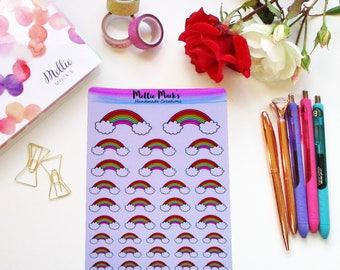 RAINBOWS KAWAII COLOURFUL Hand Drawn Planner Stickers for Erin Condren, Plum Paper, Happy Planner, Kikki K