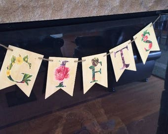 Baby Shower Sign Floral Sign Wood Pennant Banner Baby Shower Gifts Floral Rustic Wooden Sign