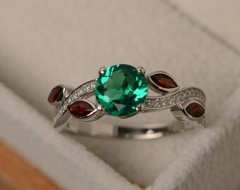 Emerald ring, multistone ring, leaf ring, sterling silver, emerald engagement ring, round cut emerald ring