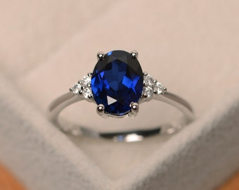 Sapphire engagement ring, blue sapphire engagement ring, oval cut, sterling silver