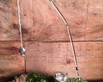 Miniature Fishing Pole and Bucket of Fish